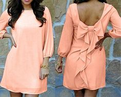 Love Pink! Pink Plain Ruffle Bow Chiffon Mini Dress #Pink #Ruffle #Bow #Mini_Dress #Summer #Dress #Fashion