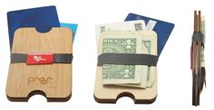 Proof wood wallet in bamboo and birch. eco friendly wallets