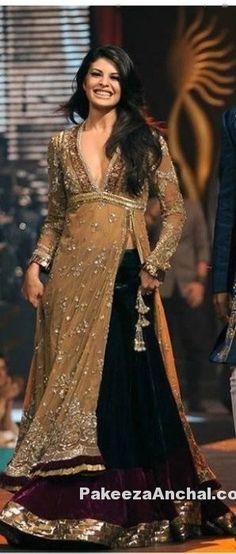 Jacqueline Fernandez in Indo Western Long Shirt Velvet Lehenga-PakeezaAnchal.com