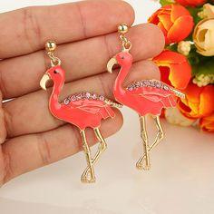 Delicate Flamingo Pink Austrian Rhinestone Crystal Dangle Pierced Earrings E204