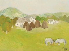 Constantin Piliuţă The Grandparents, 1978 Oil on canvas x 55 cm Post Impressionism, Art Database, Day Wishes, Grandparents, Oil On Canvas, Landscape, Artwork, Aunts, Image