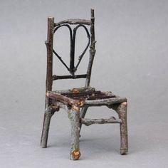 Make a Dolls House Cabin Chair - Rustic Twig Dollhouse Cabin Chair