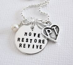 Physical Therapy Necklace - PT Appreciation - Sterling Silver Personalized - Patricia Ann Jewelry Designs
