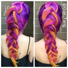 guy_tang -- It was so fun meeting all my HairBesties in the land. Here is a fun color combo from one of my hair models at the hair show with behindthechair_com using pravana neons vivids and olaplex. See you soon at Salon International In London