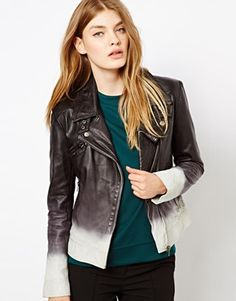 Image 1 of Barneys Originals Dip Dyed Leather Biker Jacket