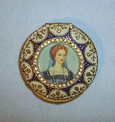 Antique Compact Portrait Painting Enamel Gilt Silver Rhinestone | eBay