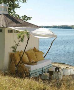 7 ötlet kerti bútorok készítéséhez raklapból - kerti pihenő