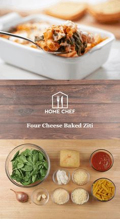 Four Cheese Baked Ziti with garlic ciabatta Chef Recipes, Lunch Recipes, Pasta Recipes, Cooking Recipes, Healthy Recipes, Healthy Meals, Cheese Game, College Meals, Baked Ziti