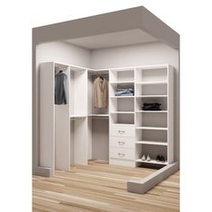 Beau TidySquares Classic White Wood 81 Inch X 72.25 Inch Corner Walk In Closet