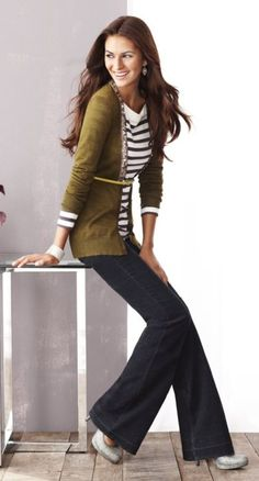 Striped top, belted long cardi, flare leg pant, heels