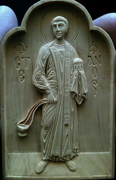St.Stefanos (the first martyr) boxwood relief carving by Vangellis Tsoubris