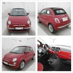Fiat 500 C 1.2 69 CV Lounge, color Rosso Passione, Km 0, a 13.900 €. #Fiat #Fiat500C #autoperneopatentati #mirafiorioutlet