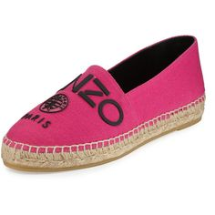 Kenzo Logo Canvas Espadrille Flat ($185) ❤ liked on Polyvore featuring shoes, flats, fushia fonce, woven flats, canvas espadrilles, kenzo shoes, espadrille flats and espadrilles shoes