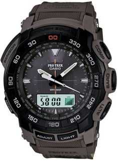 Casio PRG550B-5 Watch Details: We are Casios Authorized Dealer! Model # SKU PRG550B-5 Casio Pathfinder Protrek Tough Solar Triple Sensor collection. Plastic resin case with canvas, cloth-leather strap. Solar Powered Low-Temperature Resistant -10C14F LED Light Full Auto LED Light. Afterglow Mineral Glass Neobrite Digital Compass Hand Indication of North Altimeter Barometer Thermometer World Time 29