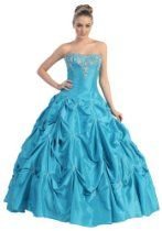Ball Gown Strapless Formal Prom Wedding Dress #2714