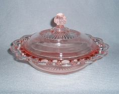 Old Colony Pink Depression Glass Lace Edge Butter Dish-hmm butter dish? Antique Dishes, Antique Glassware, Pink Depression Glassware, Cobalt Glass, Cheese Dishes, Fenton Glass, Carnival Glass, Glass Collection, Butter Dish