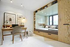 O que fazer quando você tem um quarto pequeno e precisa de um ambiente com várias funções, como espaço para estudos, trabalho, descanso e um lugar para guardar roupas e apetrechos? Esta cama com design super inteligente, projetada pela INT2 Arch