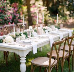 French Country Chairs + lit candles + our customizable Chameleon Tables = this awesome photo by KT CRABB PHOTOGRAPHY! Many thanks also to Over The Top Rental Linens, Life of Bright Frame Films, BD Celebrations and Bok Tower Gardens.