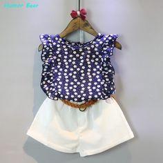Summer Floral Chiffon Polka Dot Baby Clothes Sets Girl Sleeveless T-shirt Tops+Shorts Toddler Kids Outfits Girls Summer Outfits, Baby Outfits, Short Outfits, Summer Girls, Summer Baby, Summer Clothes, Casual Clothes, 2017 Summer, Summer Europe