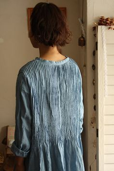 Blue | Back | Pin tucks | Pleats | Lines and stripes | Dress