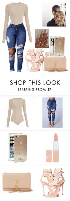 """""""👑Keeping it classy👑"""" by genevieve-gene ❤ liked on Polyvore featuring Balmain, Kate Spade, Rimmel, Yves Saint Laurent, Giuseppe Zanotti and Floss Gloss"""