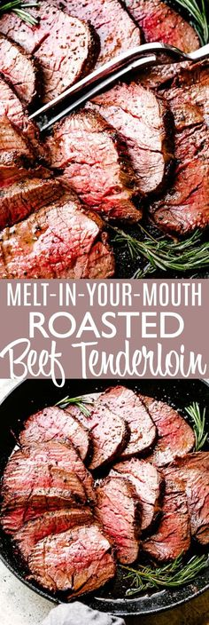 It's so EASY to make this Roast Beef Tenderloin recipe with the most delicious garlic & herb crust. Make juicy beef tenderloin that melts in your mouth! abendessen Melt In Your Mouth (MIYM) Roast Beef Tenderloin Roast Beef Recipes, Roasted Beef Tenderloin Recipes, Roast Beef Keto, Roast Beef Dishes, Chicken Recipes, Easy Roast Beef Recipe, Crockpot Recipes, Healthy Recipes, Beef Steak