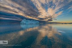 Greenland sunset by RetoSavoca  Greenland Reto Savoca Savoca clouds cold ice iceberg ocean reflection sea sky sunset water Greenland