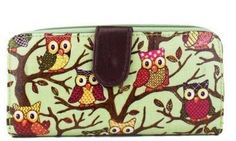 Owl Print Oilcloth Purse in Green