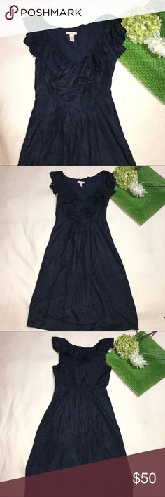 J. CREW | silk blend navy ruffle dress Length: 37"