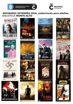 Novos audiovisuais do mes de setembro da sala de adultos da biblioteca Monte Alto.