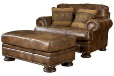 Ralston is all leather upholstery featuring the look and feel of top quality leather offered with protection. Traditional styling with natural finish nails on the arm panels and front rail, boxed seat and back cushions and bun showood accent legs are sure to add style and comfort to any home environment. Accent fabric toss pillows with down blend inserts and cord trim complete the traditional charm of this sofa group. The leathers milled surface offers luxurious soft and supple hand. Aniline…