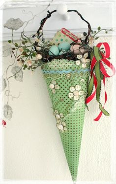 gorgeous Easter cone - now I know what to do with all of Mom's counted cross stitch paper