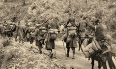 [Photo] Greek troops near Kleisoura, northern Greece, circa Jan 1941 Military History, World War Ii, Troops, Victorious, Wwii, Camel, Horses, Pictures, Painting