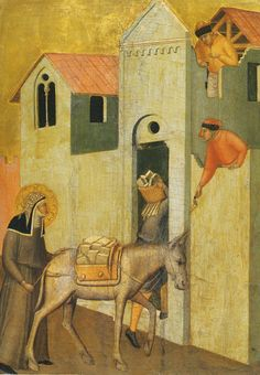 PIETRO LORENZETTI  Costruction of the roof of the church  Detail from the Blessed Humility Altarpiece