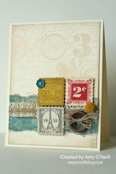 LOve this vintage stamp set!  And this is a great layout. Stampin' Up!  by Amy O'Neill, Amy's Paper Crafts