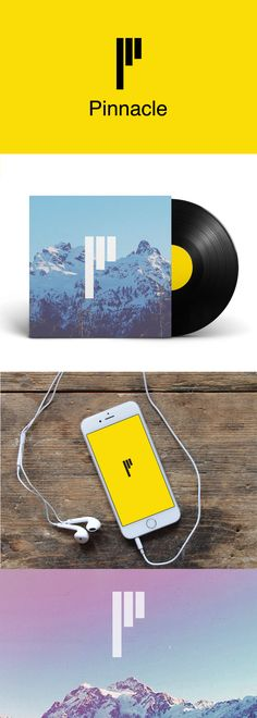 """Bright and optimistic logo and branding for a music and events startup, Pinnacle. The foundation of the mark is a playfully stylized letter """"P"""" that looks like a minimalist sound bar/equalizer. The lettermark is supported by the dramatic mountain/adventure themed photography."""
