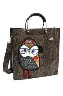 Doca hnědá designová kabelka se sovou
