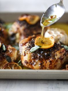 """Meyer Lemon Roasted Chicken - How Sweet Eats """"seriously one of the best chicken dishes I have made ever"""" Best Chicken Dishes, Roast Chicken Recipes, Chicken Thigh Recipes, Chicken Gravy, Rotisserie Chicken, Lemon Roasted Chicken, Roasted Chicken Thighs, Roasted Cauliflower, Baked Chicken"""