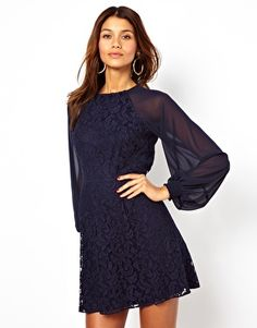 ASOS Lace Shift Dress With Blouson Sleeves Christmas Party $80