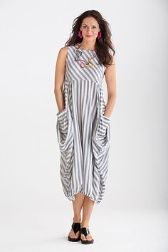 Montauk Dress: Mariam Heydari: Knit Dress | Artful Home. Angled stripes and architectural shaping,