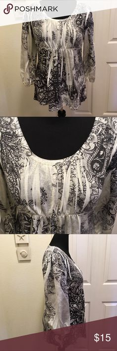 Empire Waist Mixed Media Blouse This was one of my favorites! Super soft and flattering. Cotton top with satin sleeves. Hits at hip. Style & Co Tops Blouses