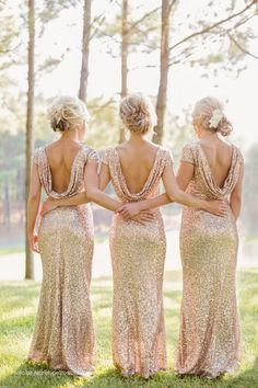 Open Back Sparkly and Glittery Gold Bridesmaid Dresses / http://www.deerpearlflowers.com/glitter-wedding-ideas-and-themes/