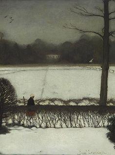 Jan Mankes - Uitzicht vanuit zijn atelier in Eerbeek - sneeuwlandschap