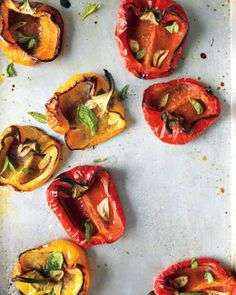 Roasted Peppers with Garlic and Herbs: Bell Peppers, Olive Oil, Garlic, Oregano, Salt, Pepper, Basil