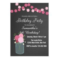 Mason Jar Flowers Birthday Party Invitation