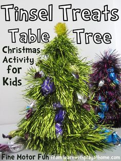 Learn with Play at home: Tinsel Treats Table Tree. Christmas Craft for Kids