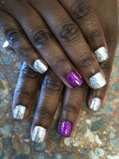Silver and Purple Rock Star Nails