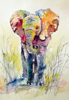 Elephant Canvas Print by Kovacs Anna Brigitta. All canvas prints are professionally printed, assembled, and shipped within 3 - 4 business days and delivered ready-to-hang on your wall. Choose from multiple print sizes, border colors, and canvas materials. Elephant Artwork, Elephant Canvas, Elephant Paintings, Elephant Watercolor, Animal Paintings, Animal Drawings, Art Drawings, Indian Paintings, Art Paintings