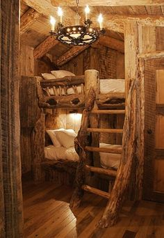Rustic bunkbeds for cabin.
