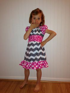Chevron peasant dress with sash by Littleticas on Etsy, $25.00